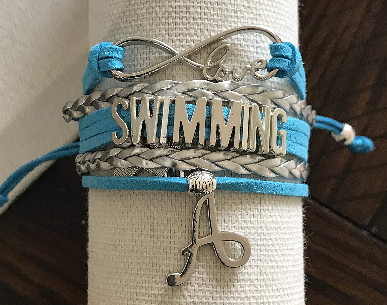 Personalized Swim Bracelet with Letter Charm, Custom Swimmer Gift, Girls SwimmingJewelry, Perfect Gift for Swimmers, Swim Team, Swim Coache