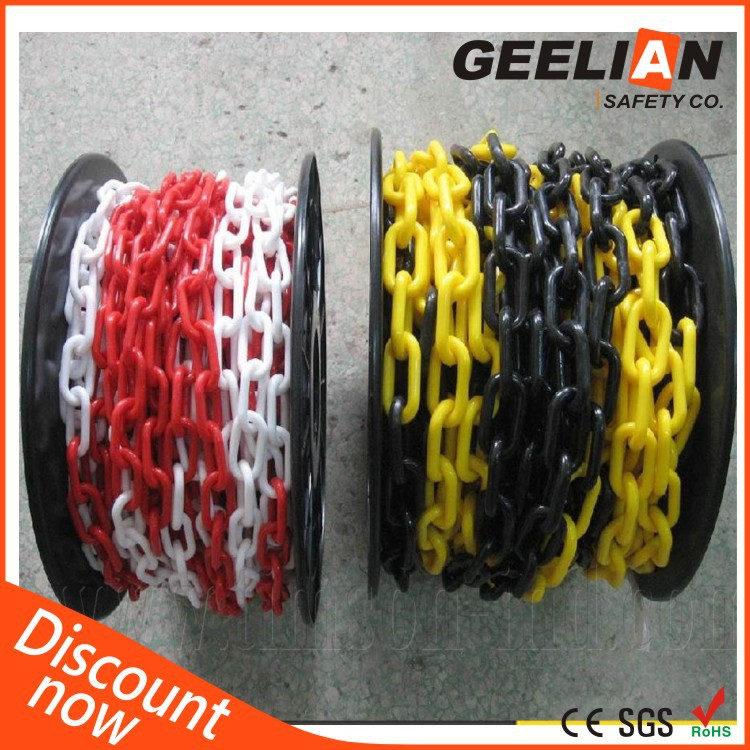 Red & White Round Caution Roller 3mm Plastic Chain Link