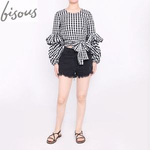 bb7ac8058c6631 Bisous Women Spring Summer Blouses with Puff Sleeve Sashes Shirts Tops  short crop top style