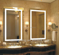 Wall Mounted Big Size Hotel LED Rectangle Bath Lighted Bathroom Mirror