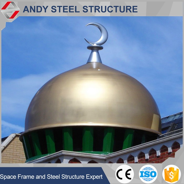 Prefabricated steel aluminum Mosque Dome Roof Shed
