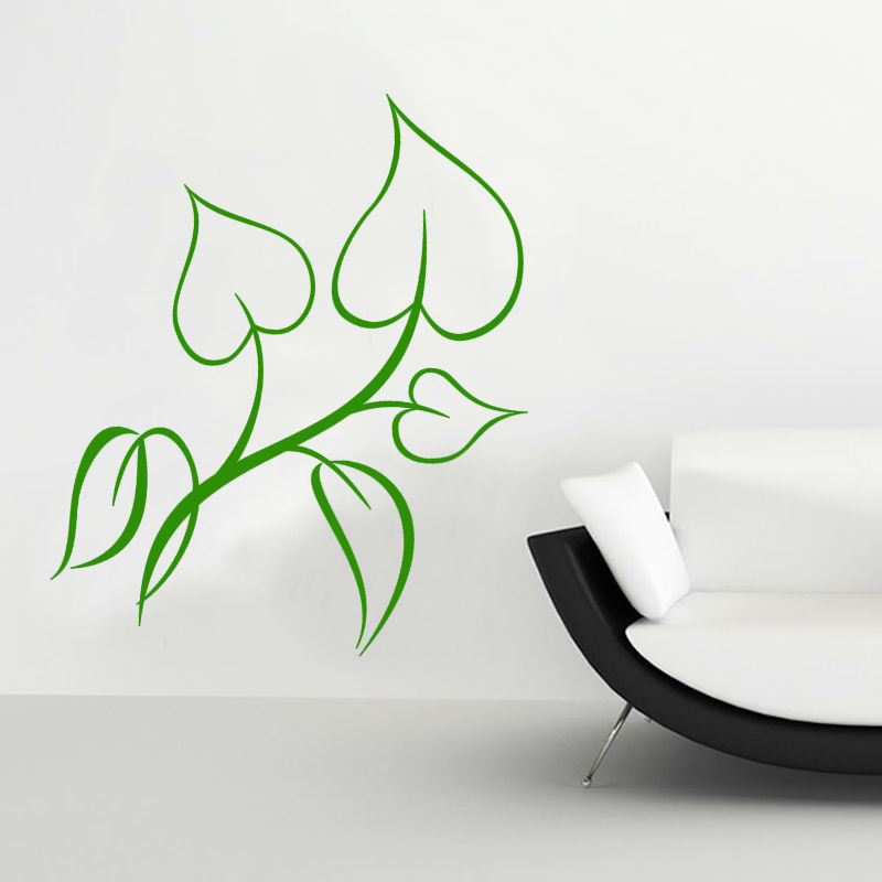 Nature Style Home Decor Light Green Leaf Outline Branch Wall Sticker Waterproof Removable PVC Wallpaper Decal