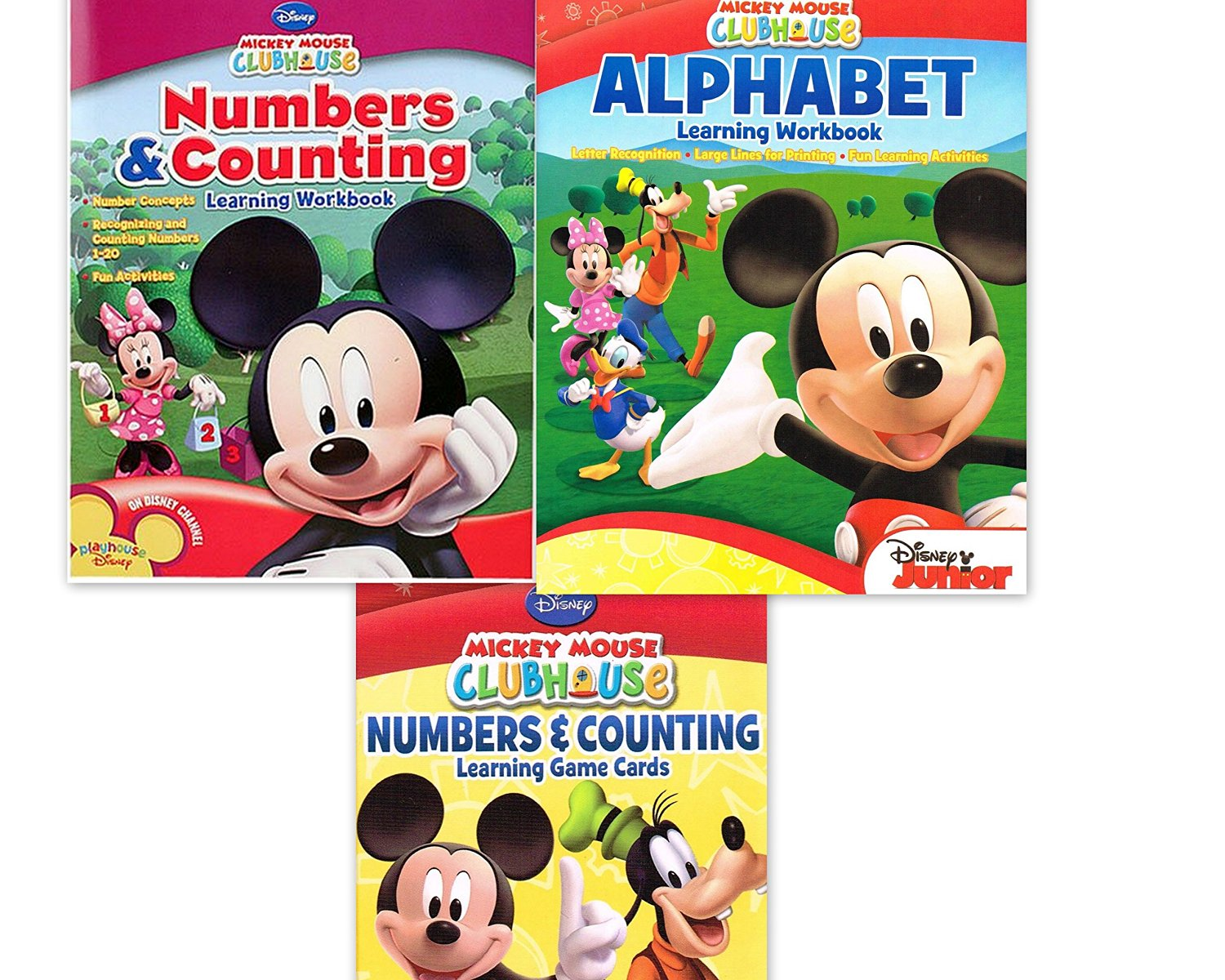 Mickey Mouse Clubhouse Workbook and Flashcard Learning Bundle (Set of 3) includes (1) Numbers & Counting Learning Flash Cards + (1) Alphabet Learning Workbook + (1) Numbers and Counting Learning Workbook