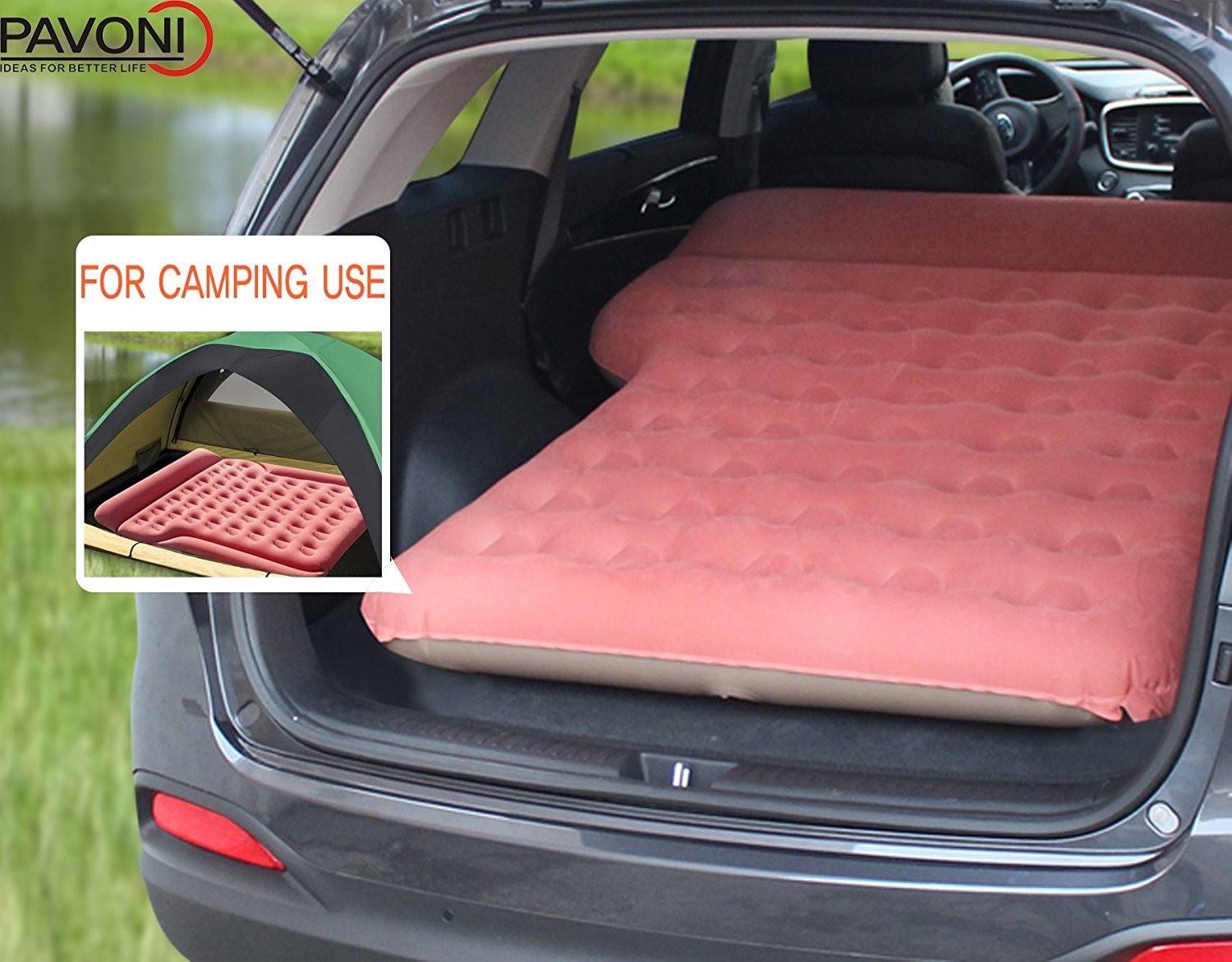PAVONI SUV Heavy-duty Backseat Car Inflatable Travel Mattress for Camping / Perfect For SUV/RV/Minivan
