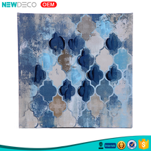 New craft high gloss blue abstract canvas wall art