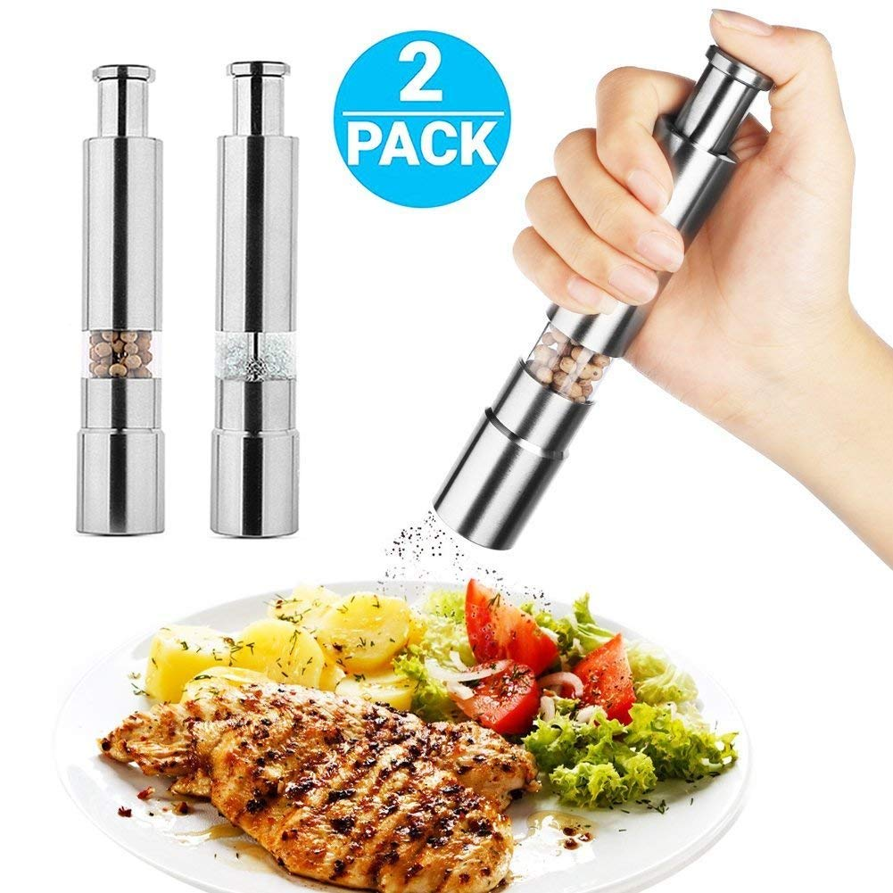 Best Salt and Pepper Grinder Set, [LUXURY DINNER PARTNER] - PORTABLE & DURABLE Pepper Grinder Mill, Salt and Pepper Shakers