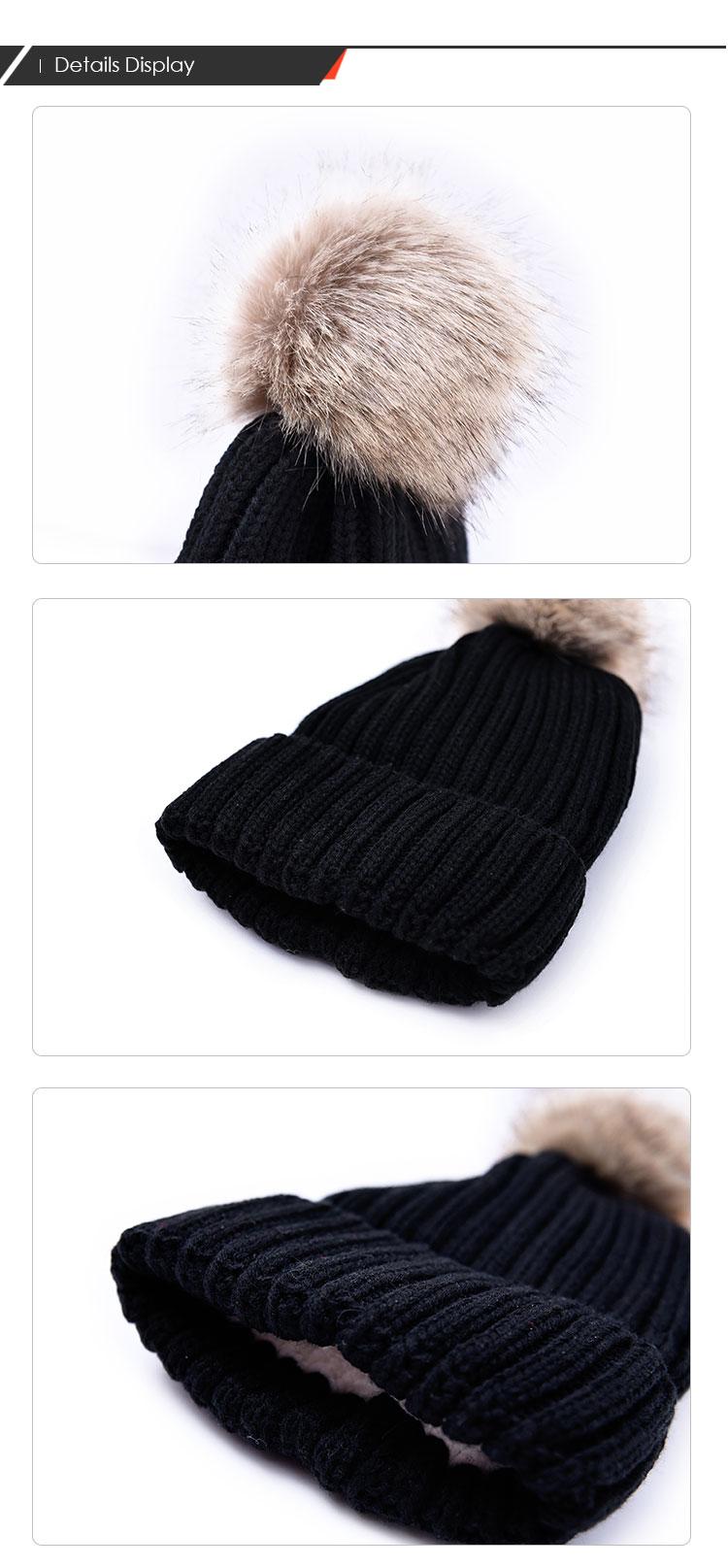Toptan üretici özel Bere pom-pom şapka ile sahte rakun kürk kayak şapkası kış şapka