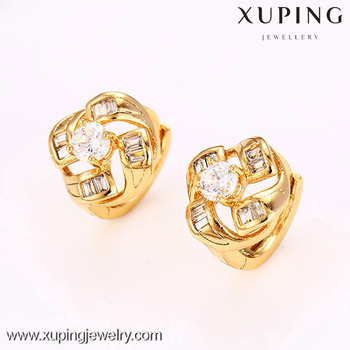 27173 18k Gold Plated Crystal Diamond Earring Beautiful Golden Designs For Women Fashion