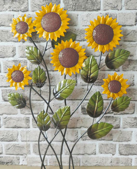 Indoor Outdoor Home Decoration Metal Flower Plaque Wrought Iron Sunflower Wall Hanging Art Crats