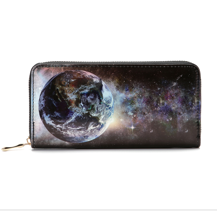 2017 New Model Women Wallet Phone Case Zippered Planet Star Printing PU Leather Ladies Purse Wallet