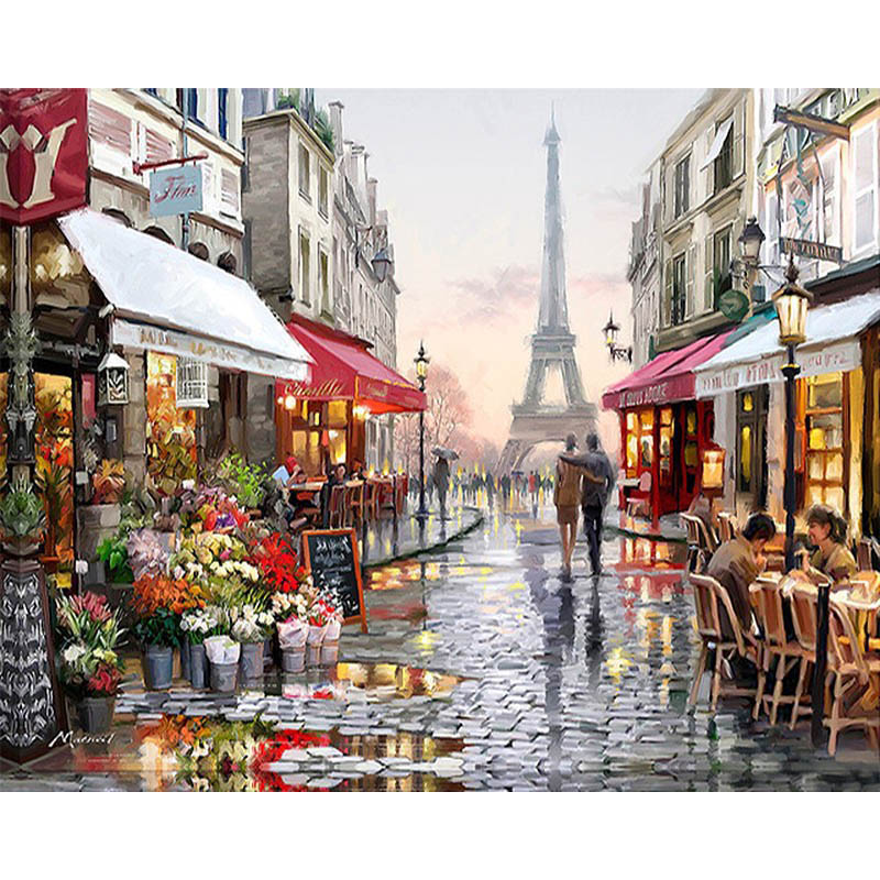 CHENISTORY DZ1009 Paris Street DIY Painting By Numbers Handpainted Canvas Painting Home Wall Art <strong>Picture</strong> For Living Room gift