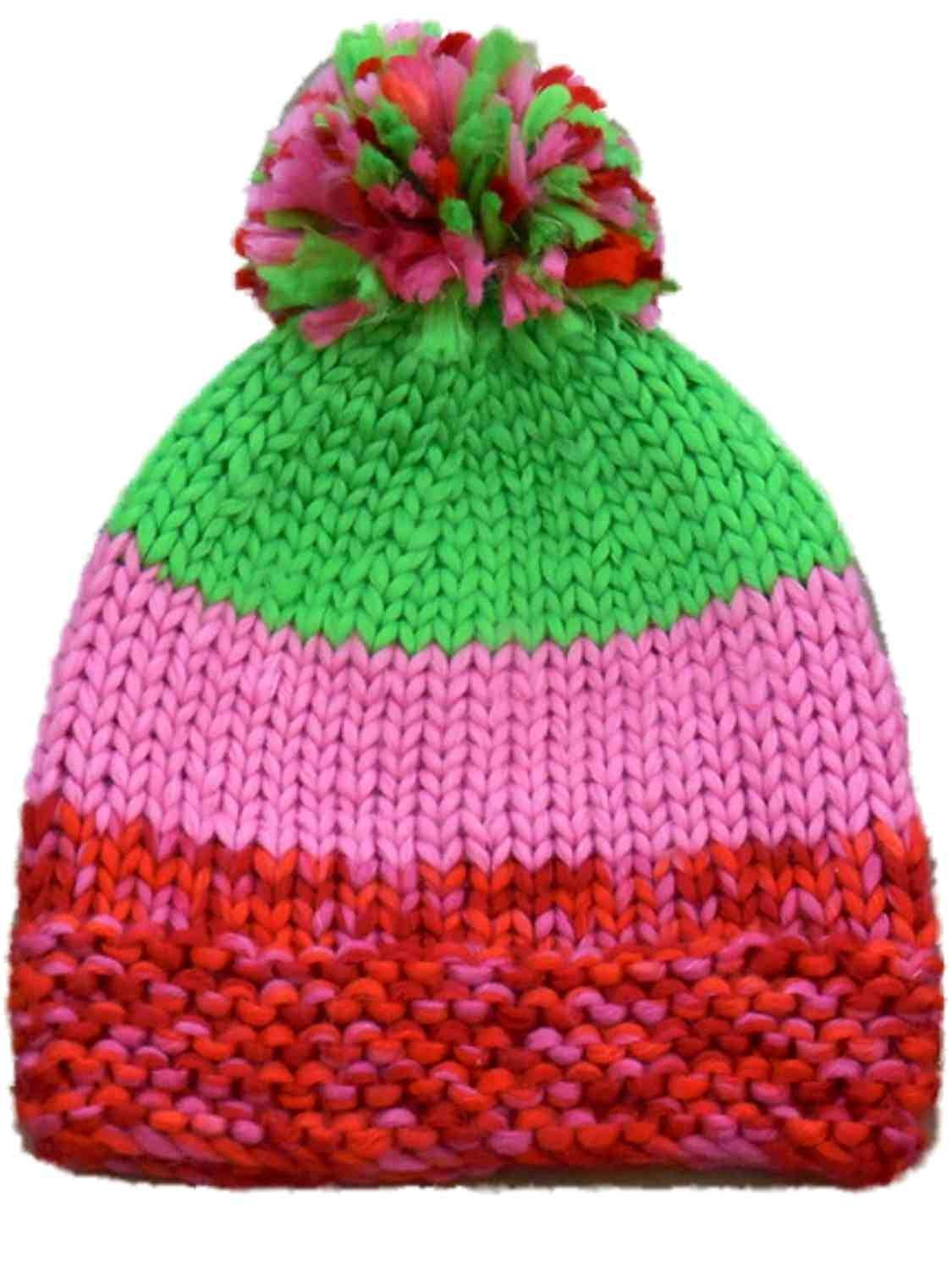 bc4733587fa31 Get Quotations · Urbanology Womens Pink And Green Striped Knit Beanie  Stocking Cap Hat