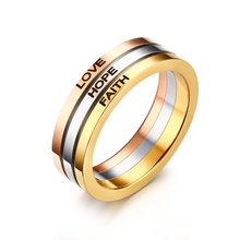 "Women Rings Stainless Steel Ring for Woman Laser ""Love Hope Faith""  Fashion Jewelry"