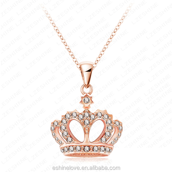 Elegant crown design diamante rose gold jewellery pendant necklace elegant crown design diamante rose gold jewellery pendant necklace nl0290 a aloadofball Images