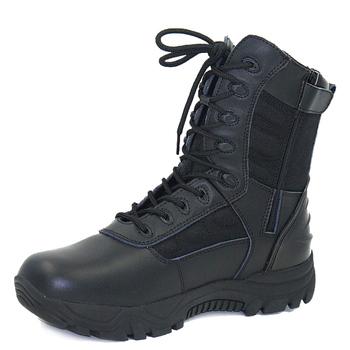 3fa1c1374 2018 nueva buena calidad negro completo de cuero de grano botas de la  policía