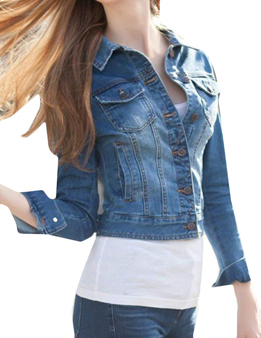 04a798d3475 Get Quotations · Pandapang Women Western Slim Fit Washed Long Sleeve Crop  Jeans Coat Denim Jacket