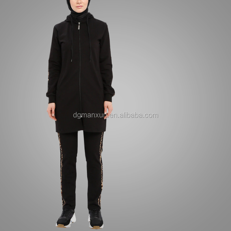 Best Seller Cheap Black Tracksuits Sportswear Simple Cosy Long Sleeve Muslim Sportswear Islamic Clothing Wholesale