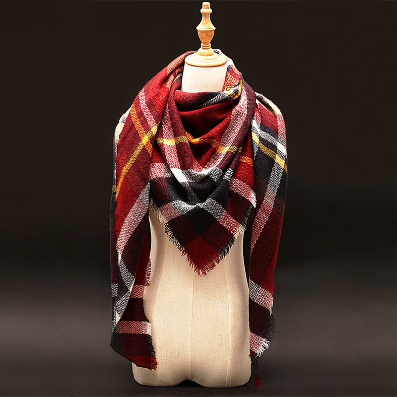Za font b Winter b font luxury Brand Plaid Cashmere Scarf Women Oversized Blanket Scarf Wrap