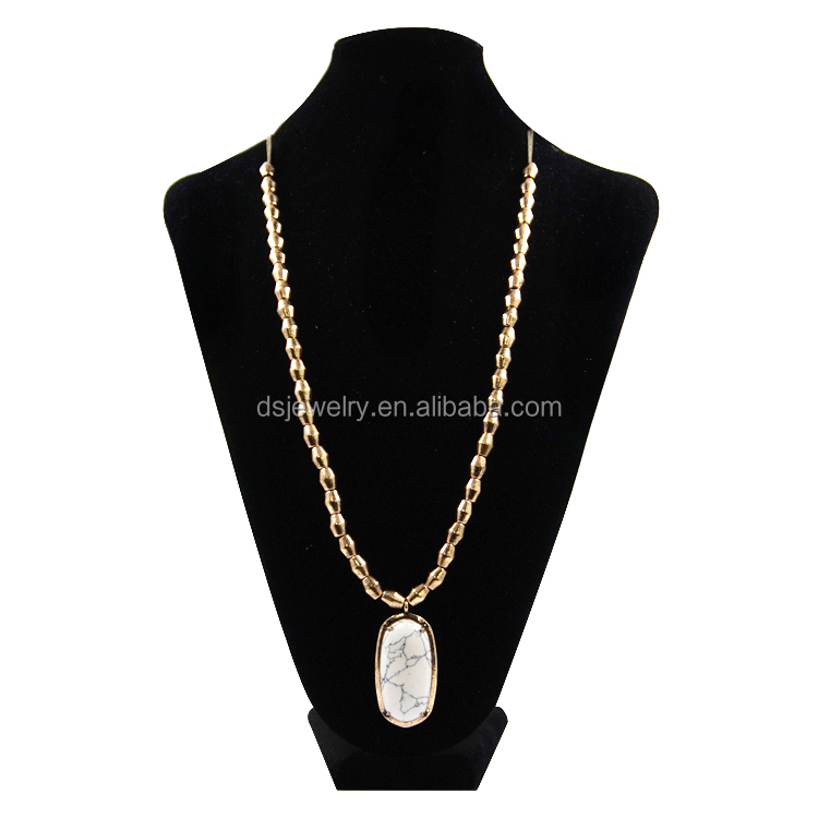 wholesale new design gold beads bold resin wood statement pendant necklace jewelry