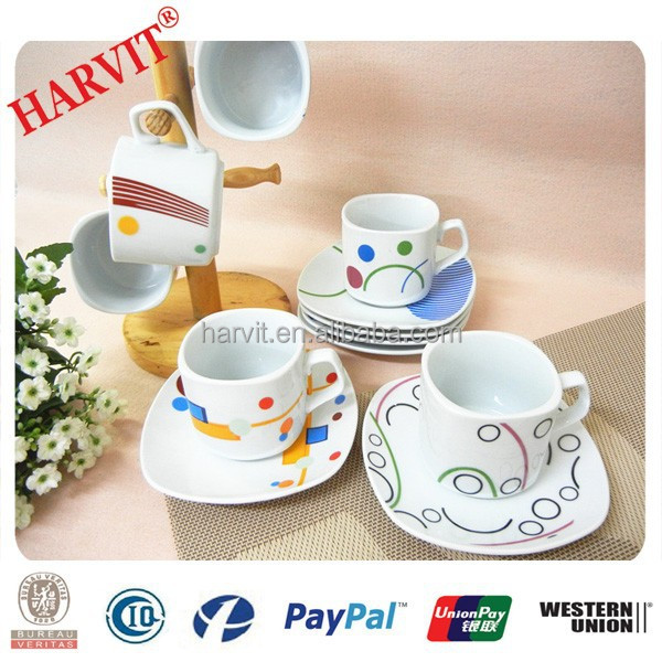 Modern Square Coffee Cups And Saucers Porcelain Tea Sets