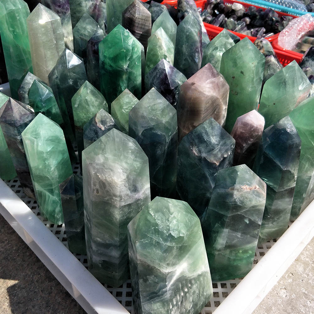 Wholesale price of natural large fluorite crystal point carved fluorite cheap price crystal obelisk point