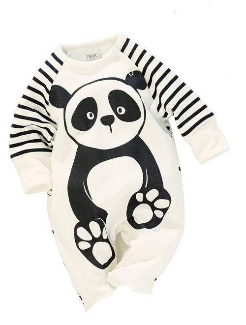 100 Cotton Baby Boys Girls Long sleeve Romper stripe panda jumpsuit clothes newborn infant baby clothing