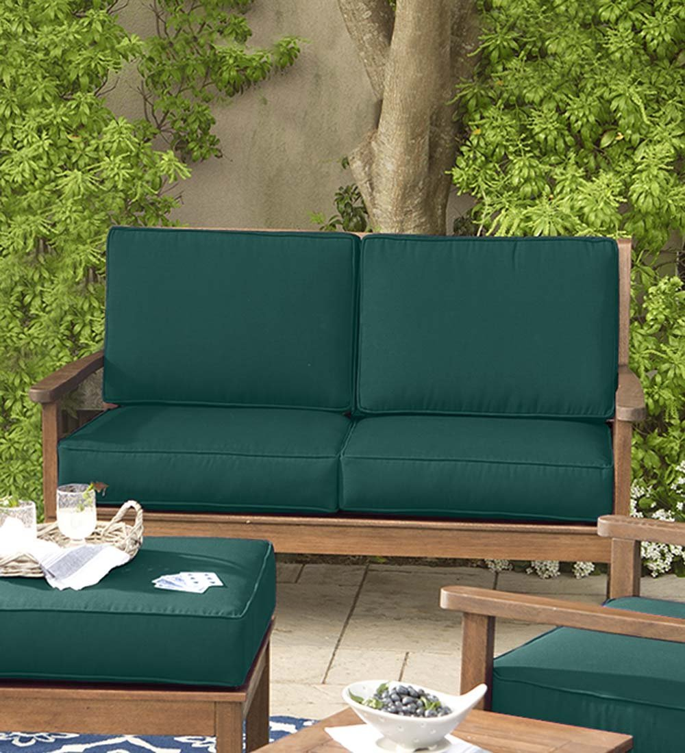 Lancaster Eucalyptus Deep Seating Love Seat with Forest Green Cushions