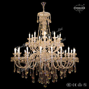 new big 30 light Georgian style crystal chandelier lighting with barley twist glass chrome arms ETL88011