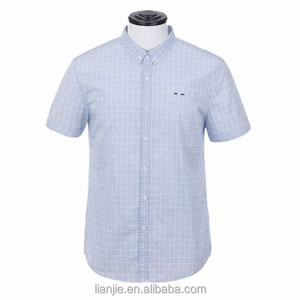 Fashion wholesale casual polo neck plaid shirt men business short sleeve