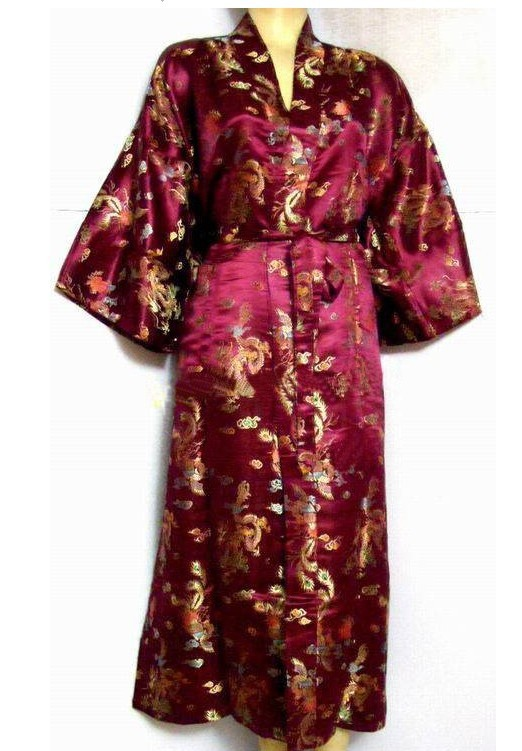 1a4d52e73ee Get Quotations · New Arrival Burgundy Chinese Men s Silk Satin Robe Gown  Sleepwear Kimono Gown Wholesale And Retail Size