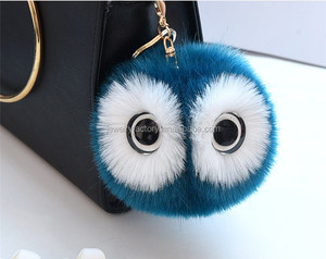 Cute Faux Rabbit Fur Ball Pompom Keychain Women Fluffy Pompon Owl Key Chain Holder Pom Pom Toy Doll Keyring Bag Charms