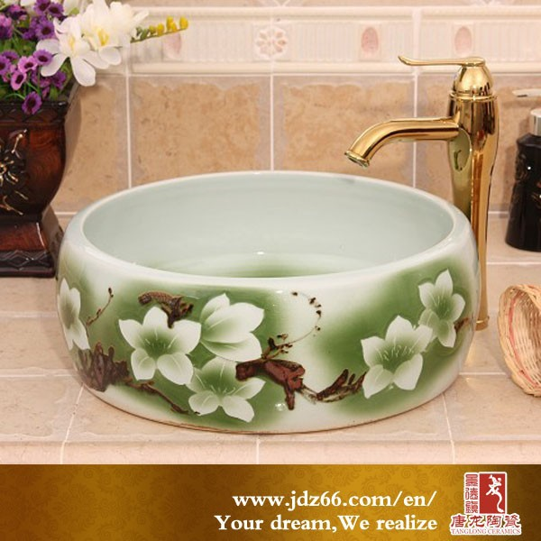 Chinese style high quality printed green flowers ceramic oak wash basin stand for bathroom decoration