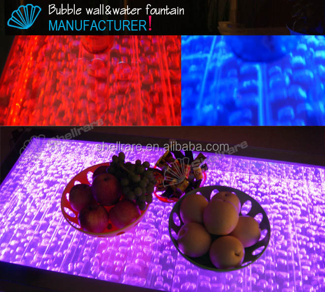 LED light aquarium fish tank table, home coffee table,water bubble coffee table