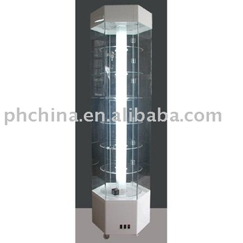 Dcn-153 Revolving Acrylic Display Cabinet With Led Lights In White ...