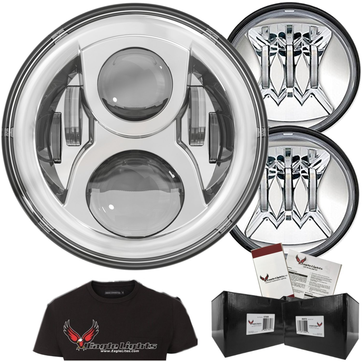 """Eagle Lights 7"""" Chrome Round LED Headlight Kit 8700G2 Gen II Daymaker with Gen II Passing Lamps"""