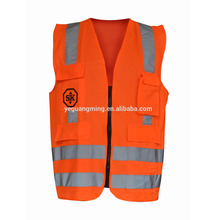 orange knitting fabric safety vest with pockets