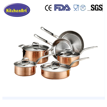 Copper Ceramic Non-Stick Round Cookware 10Piece Set