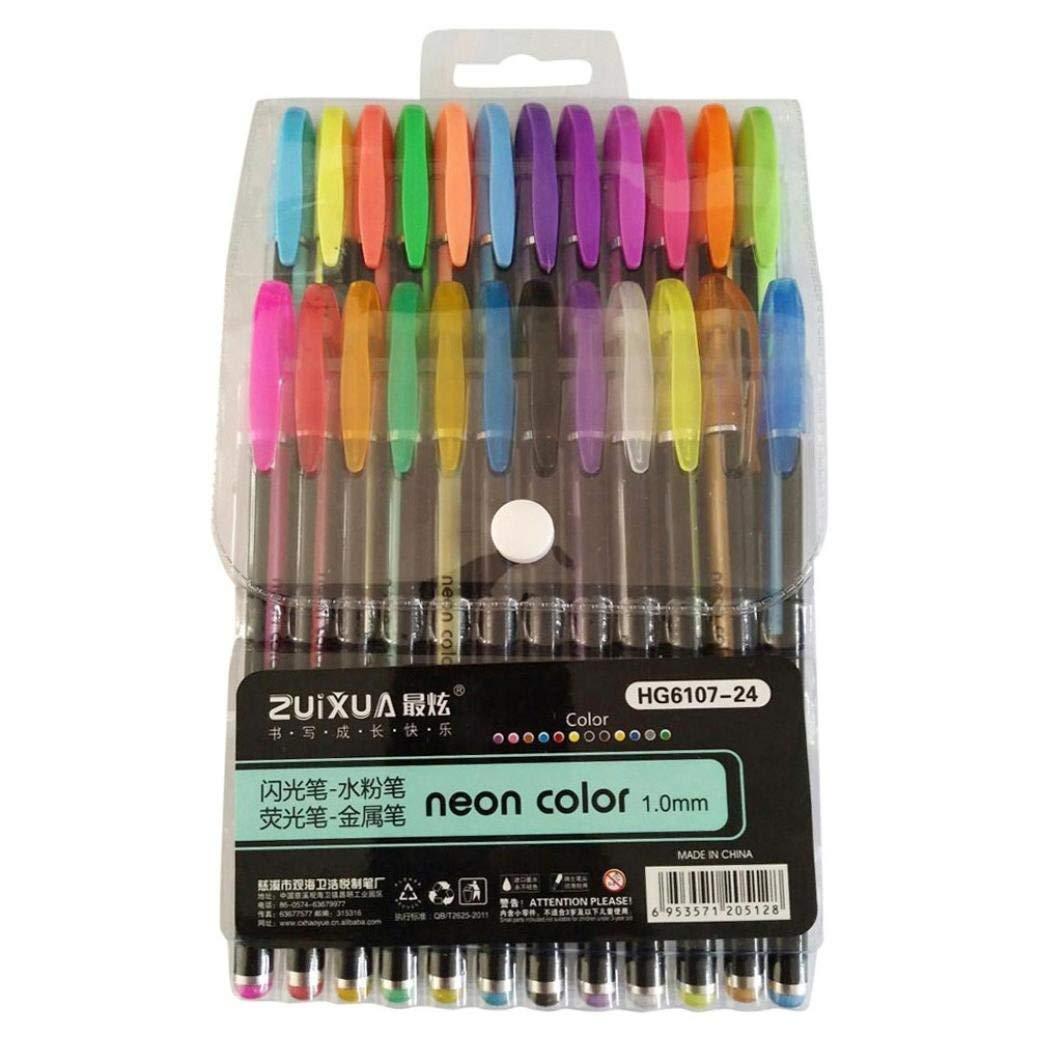 Rumas Watercolor Gel Pens Set - 24Pcs, Sketching Pens for Kids Students Women Men, Marker Gel Pens for Adult Coloring Book Underlining, Assorted Colored (Multicolor)