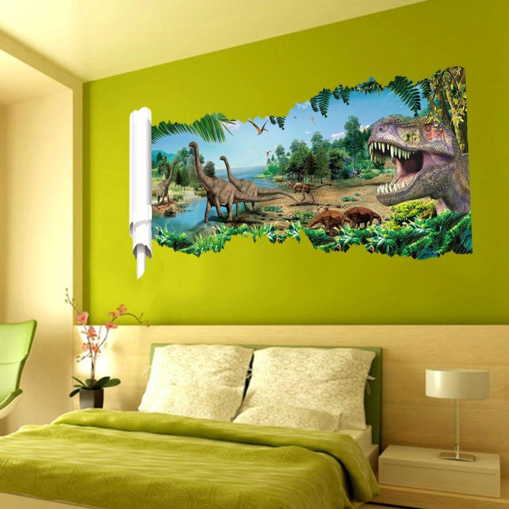 dinosaur wall sticker jurassic park 3d stereo wall covering forest boys bedroom door window. Black Bedroom Furniture Sets. Home Design Ideas