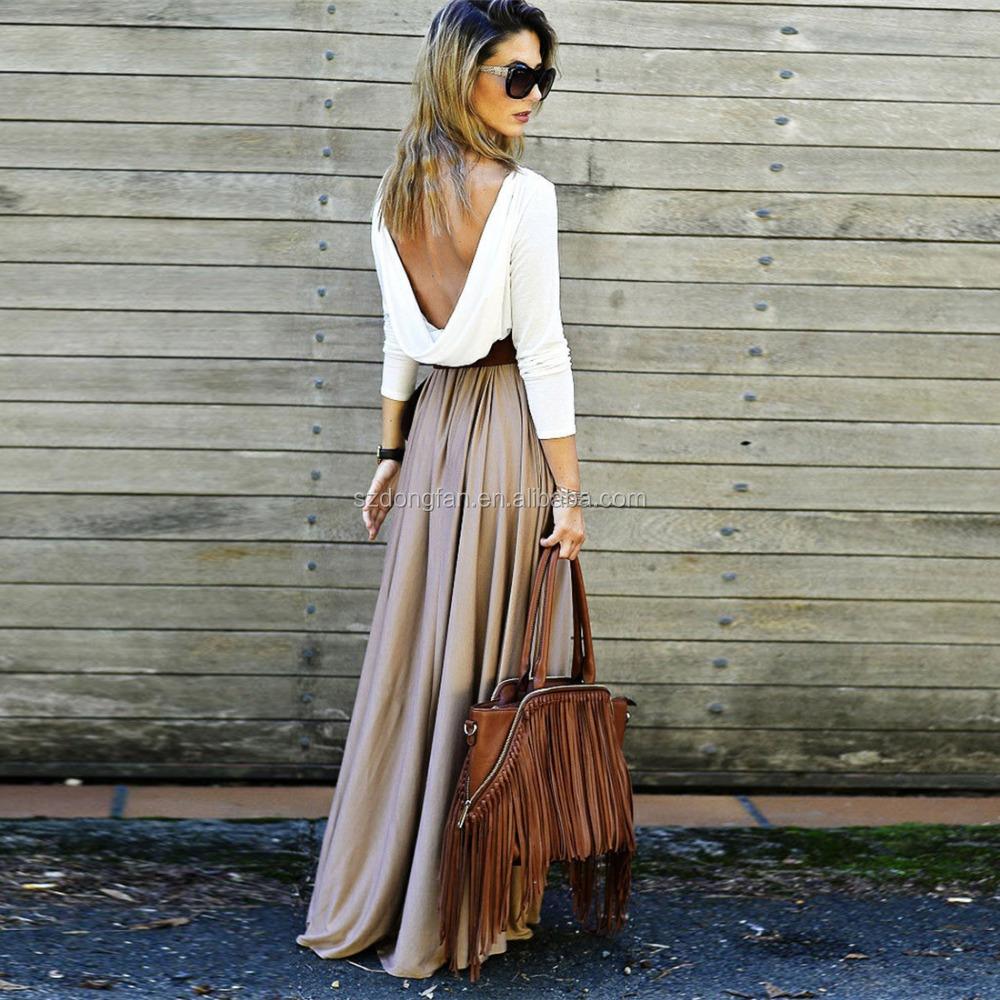 backless büro kleid patchwork maxi kleid frauen slim fit lose gefaltete  herbst kleid vestidos lange kleider für damen - buy weiß großhandel plus  größe