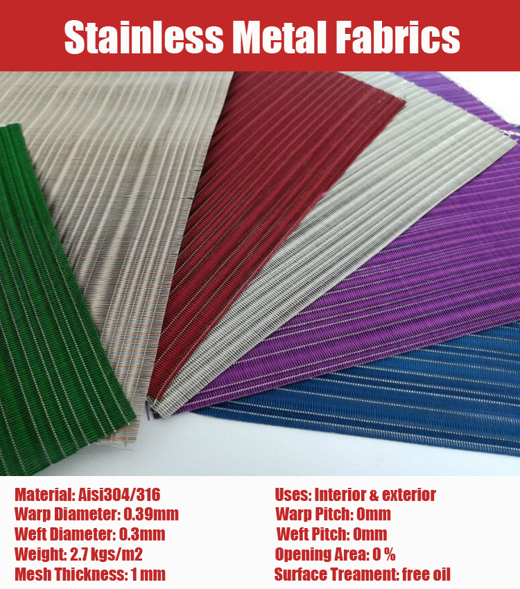 ISO Qualified Free Sample Stainless Steel Metallic Fabrics for Elevator Cab