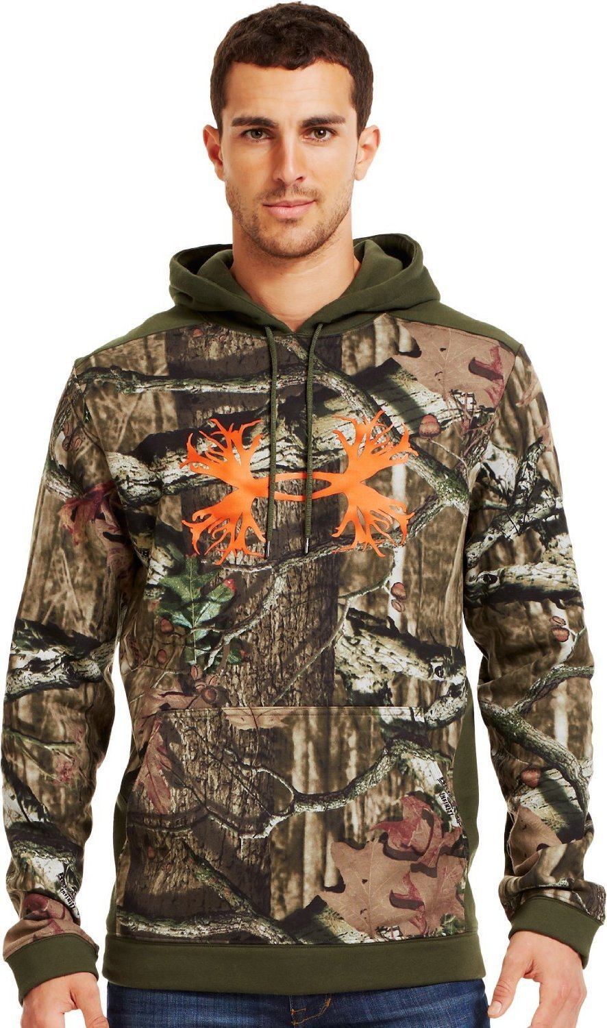 Under Armour Men's Charged Cotton Storm Camo Antler Hoodie Large Mossy Oak Break-Up Infinity