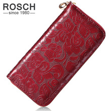 2016 New Fashion Women Wallets PU Leather Red Wallet Zipper Clutch Purse Ms floral zipper Long Purse 4 Colors Lady Change Purse