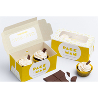 Custom 2 3 4 6 12 Mini Cup Cake Muffin Food Packing Box White Brown Kraft Paper Transparent Cupcake Box