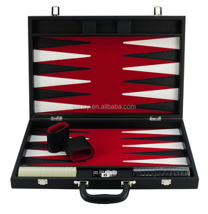 luxury 18 inch carbon fiber leather backgammon game set with handle