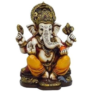 Lightahead The Blessing. A Colored & Gold Statue of Lord Ganesh Ganpati Elephant Hindu God Made from Rein