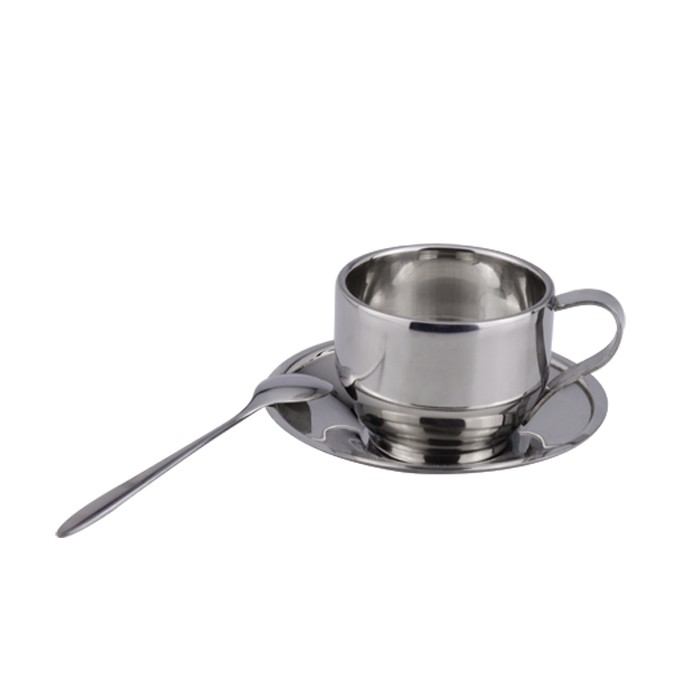 Stainless steel coffee mug set with spoon and tray