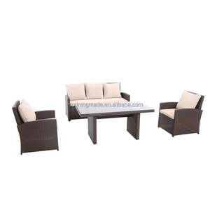4 PCS PE Rattan Outdoor Garden Patio Furniture coffee tea table & sofa set for 5 seat set
