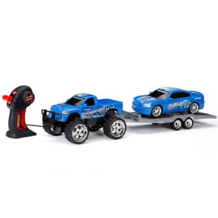 "Wheels 7"" Remote Control Simple Function Custom Cruiser Trailer Set: Mopar Ram truck with Dodge Charger Car, Blue"