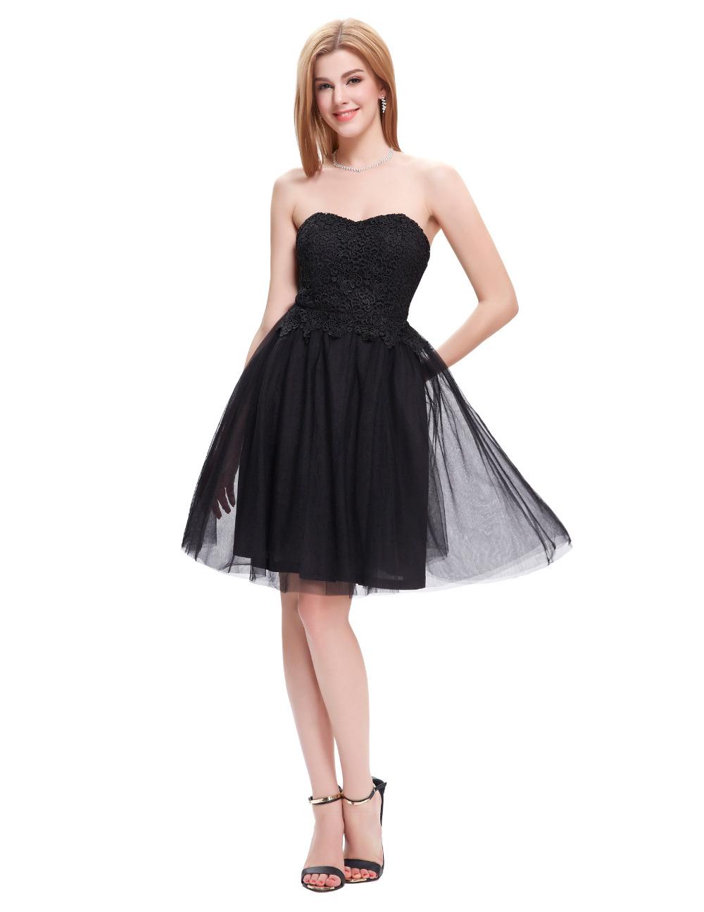 robe de soiree courte elegant 2016 black white pink short lace evening dress for wedding dinner. Black Bedroom Furniture Sets. Home Design Ideas